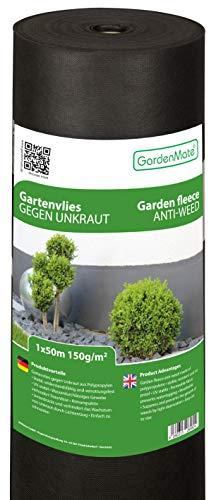 GardenMate 1mx50m Rollo Malla geotextil 150 g/m² - Geotextil para jardín - Muy Resistente al desgarro - Estabilizada contra UV - 1mx50m=50m²