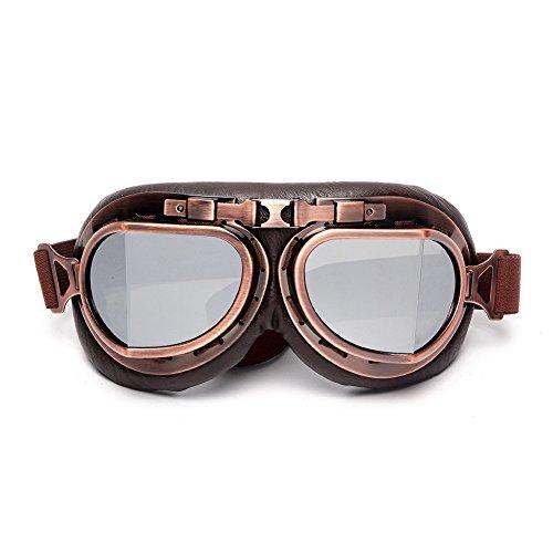LEAGUE&CO - Gafas de motocicleta de diseño retro, gafas para piloto, gafas de protección, gafas de aviador, gafas para casco, plata