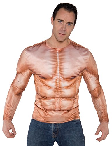 Underwraps Men's Photo Real Shirt - Muscles Padded, Tan, One Size