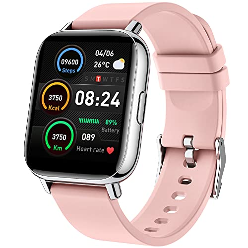 Montre Connectée Femme, 1,69 Pouces Smartwatch 24 Modes Sport Montre Intelligente avec Fréquence Cardiaque Podomètre Sommeil, Fitness Tracker Bracelet Connecté Etanche Chronometre pour iOS Android