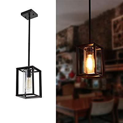 Miduxiy Pendant Lighting 1 Light Black Industrial Pendant Lights Glass Shade Cage Hanging Light Fixtures Ceiling Farmhouse Kitchen Island Entryway Foyer