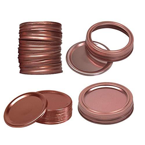 24 Pcs Canning Cup lids and Bands for Regular Mason Jars, Cup Lids Split-Type Regular Mouth Mason Split-Type Lids Leak SecureJar Lids (Rose Gold, 70mm)