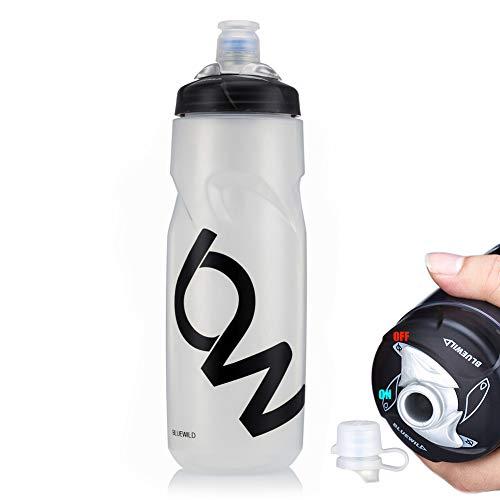 PFLife Fahrrad Trinkflasche BPA frei, Radsport Wasserflasche mit Düse auslaufsicher 750m weiß schwarz, Sportflasche für Fahrrad, Gym, Drauße, Sport & Freizeit (Weiß, 25oz / 750ml)