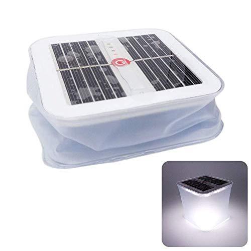 Hinchable Solar Linterna, Impermeable LED Linterna de Camping Plegable Luz Solar Noche Lámpara para Exterior Pesca Senderismo Tienda Jardín - Blanco