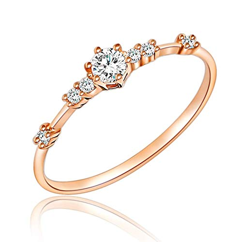 JESMING 7 Tiny Diamond Pieces of Exquisite Ring Stacking Rings for Women Small Fresh Style Ladies Cubic Zirconia Simulated Diamond Ring Jewelry   Gold Silver Rings for Women Girls (Rose Gold,6)