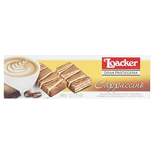 Loacker - Gran Pasticceria Patisserie Cappuccino -Mit Milchschokolade überzogene Schokoriegel mit 2 Waffelschichten und Kaffee-Creme-Füllung - Essen und Snacks - Verpackung enthält 100 g