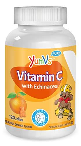 YUM-V's Vitamin C Chewable Jellies (Gummies) for Kids, Orange Flavor; Daily Dietary Supplement for Children with Echinacea, Kosher/Halal, Gluten-Free