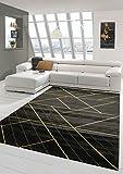 Teppich-Traum Alfombra Moderna Sala Estar Alfombra diseño geométrico Oro Negro Größe 160x230 cm