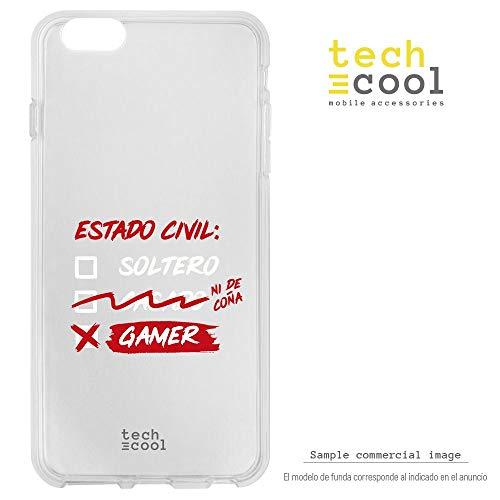 Funnytech Funda Silicona para Samsung Galaxy S6 Edge Plus [Gel Silicona Flexible, Diseño Exclusivo] Frase Gamer Humor Estado Civil Hombre Transparente