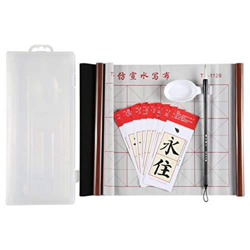 Tomaibaby Conjunto de Caligrafía China Chinese Magic Cloth Brush Pen Brush Rack Water Dish Caligrafía Japonesa Papel de Agua de Secado Rápido Fabric Cloth