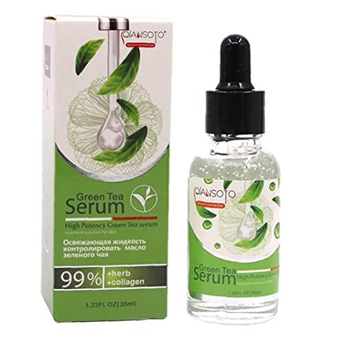 1Bottle Green Tea Sérum Hydratation Hydratant Sérum Sérum Pure Ingrédients Pure Traitement de la peau Essence pour la peau de dissolvant et la peau de réparation (35 ml / 1.23fl.oz)