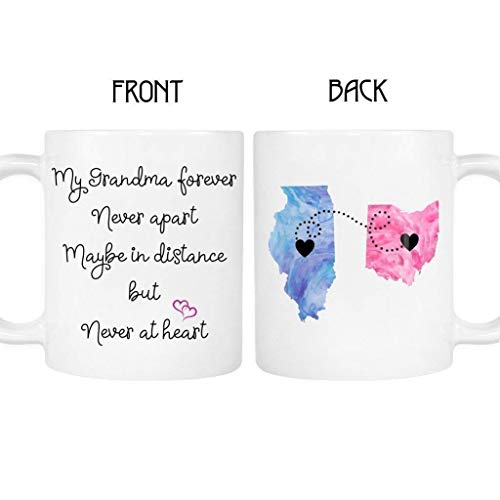 Grandma Long Distance Mug, States and Countries, Personalize the Name On the...