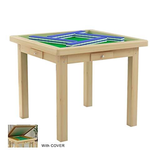 Mahjong Tafel Mah Jong Tafel Mah Jong Uitrusting met 4 Laden, Cover Eettafel Dual Gebruik 37.4x37.4x29.5 Inches Niet-automatisch
