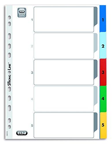 ELBA 400013947 Kunststoff-Register Strong-Line Zahlen 1-5 5-teilig für DIN A4 Plastikregister mit beschriftbarem Deckblatt blau rot grün gelb Ringbuch Ordner Ring-Mappe