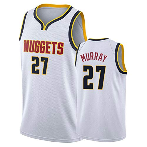 NBA Denver Nuggets 27# Jamal Murray - Camiseta de malla bordada para hombre, uniforme juvenil, tela transpirable, camiseta deportiva retro, cómoda, color blanco, talla M