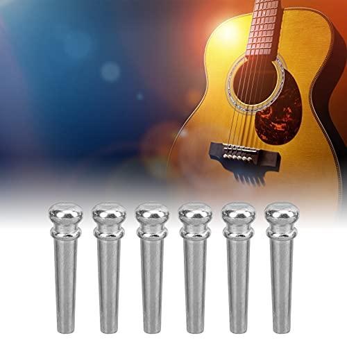 Pasadores de puente de guitarra acústica, retención y brillo de tono Pasadores de clavo de cuerda de guitarra acústica con brillo metálico plateado para guitarra acústica y guitarra acústica(Silver)