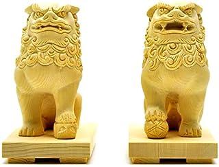 厳選手彫り開運・魔よけアイテム 木彫 桧木狛犬(唐獅子)阿吽セット 総高10cm