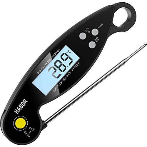 Habor Digitales Bratenthermometer, IPX6-wasserdicht Küchenthermometer, Faltbar Instant Read Fleischthermometer mit LCD-Bildschirm, Grillthermometer für Braten, BBQ, Backen, Baby-Ernährung