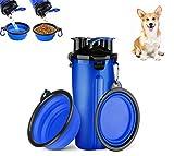 Botella de Agua de Viaje para Mascotas, con 2 Plegable Tazones Botella de agua para perros antibacteriana a prueba de fugas portátil, Botella de Doble Cámara 2 en 1, para al Aire Libre Caminar Viaja