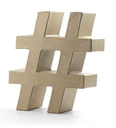 Pracht Creatives Hobby 4876-170#1 Papp Art Zeichen #, Hashtag Pappzeichen ca.17,5 x 5,5 cm groß, ideal zum Bemalen, Bekleben und Verzieren, für Serviettentechnik geeignet, als dekorativer Schriftzug