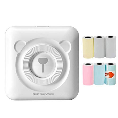 Sklepee Impresora térmica de Bolsillo, Impresora fotográfica portátil, Impresora de Etiquetas inalámbrica POS Bluetooth con 6 Papeles de impresión compatibles con teléfonos Inteligentes