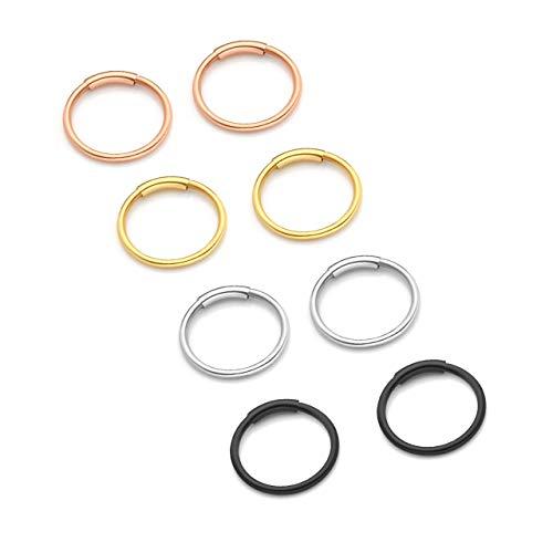 Jovivi Set di 4 Paia Orecchini a Cerchio Piercing da Naso in Acciaio Inox 20ga 8/10mm Nero Argento Oro Oro-rosa-8mm
