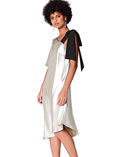 Amazon-Marke: find. Damen Asymmetrisches Midi-Kleid, Silber, 40, Label: L