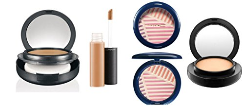 MAC Cosmetics Beautyset,4er SET (HighLight Powder/Puder, Moisturecover Abdeckstift,2x Foundation/Grundierung), als Geschenkset