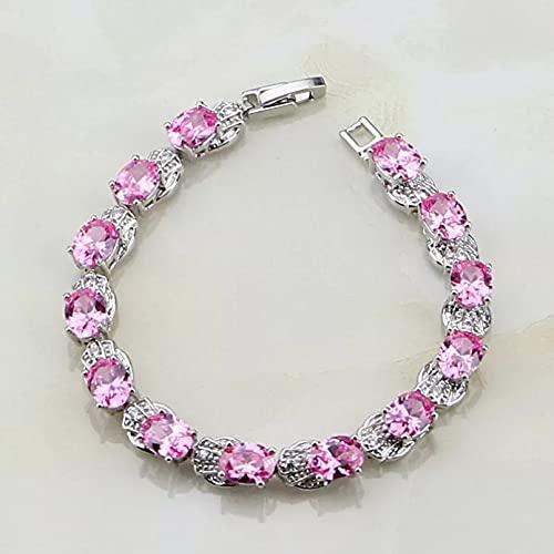 WLLLTY Pulsera para Mujer 925 Joyas de Plata esterlina Pink Lady Charm Pulsera Regalo
