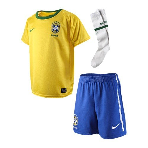 Nike Brasil Home Mini Kit 2009-10 (LITTLE BOYS SMALL, YELLOW/BLUE)