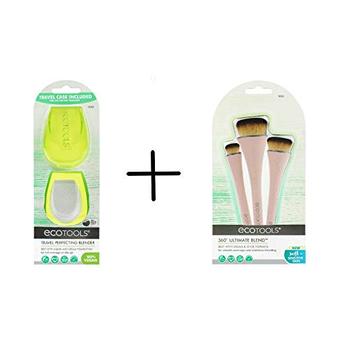 Ecotools 360 Ultimate Makeup Brush Set with Travel Sponge Blender for Foundation, Blush, Bronzer, and Concealer, Set of 4