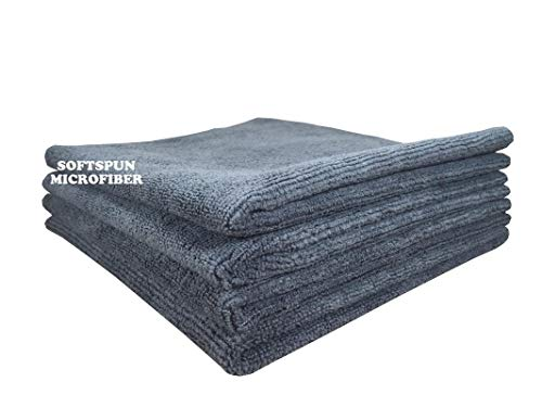 SOFTSPUN Microfiber Cleaning Cloths, 4pcs 40x40cms 340GSM Grey! Highly Absorbent, Lint and Streak Free, Multi -Purpose Wash Cloth for Kitchen, Car, Window, Stainless Steel, silverware.
