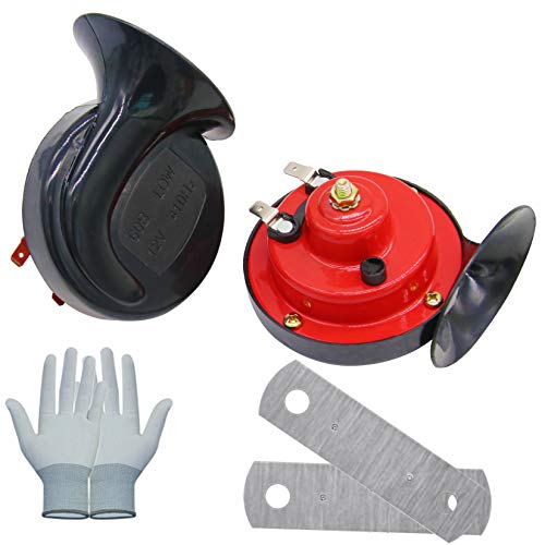 HXXF Train Horns for Trucks 300DB Super Loud Electric Snail Single Horn 12V Waterproof Train Horns Kit for Truck Train Boat Car Motorcycle Truck Boat,Gloves Included (2 PACK)