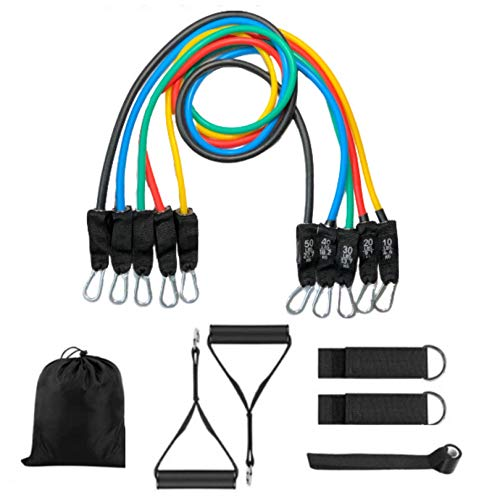 Polly House Resistance Bands Set 11 pcs Exercise Bands Yoga Pull Rope Fitness Training Tubes Handles Ankle Straps Resistance Home Workout Stackable up to 150 lbs