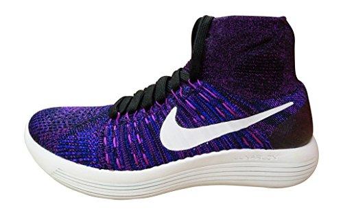 Nike Wmns Lunarepic Flyknit, Zapatillas de Running para Mujer, Negro (Black/White-Vivid Purple-Cncrd), 38 EU