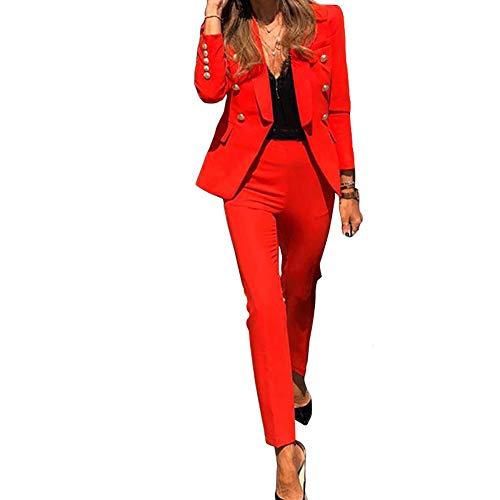 Tuta da Donna a Due Pezzi Tinta Unita,Completo da Donna a Maniche Lunghe con Pantaloni per Ufficio e Lavoro,Elegante Tailleur con Pantaloni,Blazer Top Giacche da Abito+Pantaloni da Completo Set Rosso