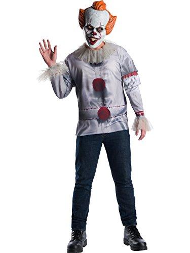 Rubies Disfraz oficial de payaso Pennywise IT, camiseta y máscara para adultos, versión de película de 2017, talla XL para adultos