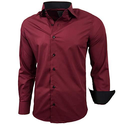 Baxboy Herren-Hemd Slim-Fit Bügelleicht Für Anzug, Business, Hochzeit, Freizeit - Langarm Hemden für Männer Langarmhemd R-44, Größe:L, Farbe:Bordo