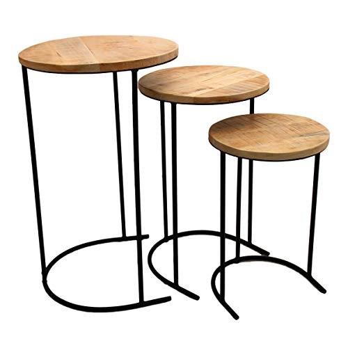 Salontafel, bijzettafel, mangohout, woonkamertafel, koffietafel, Beistelltisch 3er Set Holz/Schwarzes Metall