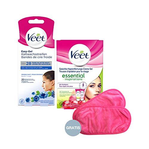 Veet Haarentfernungs-Set für ein gepflegtes Gesicht mit 2 Artikeln & GRATIS Abschminkpads (waschbar)