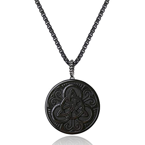 COAI Mens Womens Obsidian Stone Celtic Knot Amulet Pendant Necklace