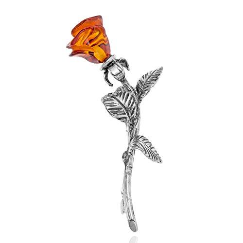 Copal Damen Brosche Echt Silber Rose Blume Kleine Geschenke für Frauen