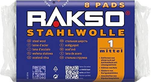 RAKSO Stahlwolle mittel 1, glättet Holz, entfernt alten Lack von Antikmöbeln, säubert Hartgummiböden, 8 Pads 200g