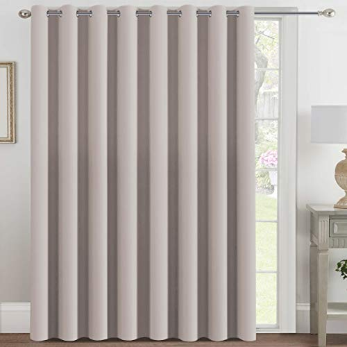 H.VERSAILTEX Blackout Patio Curtains 100 x 96 Inches for Sliding Door Extral Wide Blackout Curtain Panels Thermal Insulated Room Divider - Grommet Top, 8' Tall by 8.5' Wide - Natural