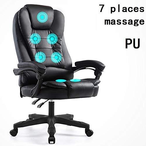 WARM ROOM Massage Gaming Chair, Reclining bureaustoel Ergonomische draaibare stoel met Massage Lumbar ondersteuning, 7 manieren om te masseren