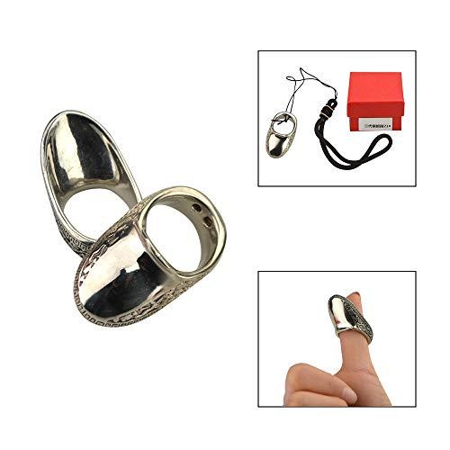 SHARROW Bogenschießen Daumen Ring Traditionelle Silber Fingertab Fingerschutz Daumenring (#23)