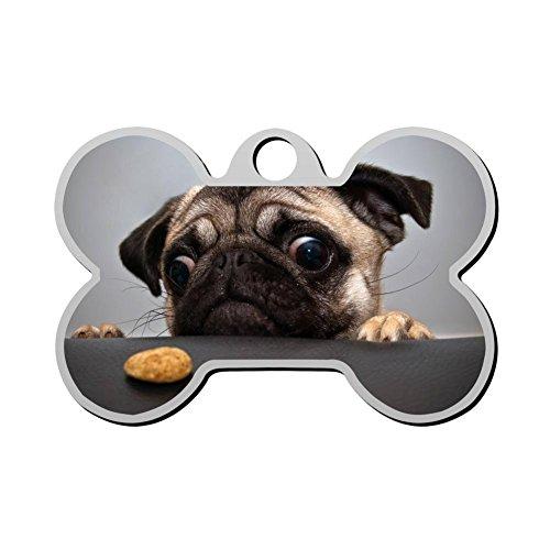 SeTag Hundemarke mit Mops-Uhr, Hundemarke, Katze, Zinklegierung, rund, geformt, Trendige Haustiere, doppelseitig, Bedruckt, speziell für Welpen, Kätzchen