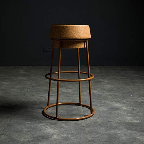 Taburete de bar de corcho champán para pub, cafetería, silla de mostrador de cocina, base de hierro, reposapiés alto y redondo, corcho comprimido sólido estable, 200 kg de capacidad, 45 cm, 65 cm, 7