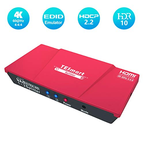 HDMI-Splitter, TESmart Powered 4K 1x2 HDMI Verteiler 1 in 2 Out Unterstützt HDCP, 4K 60Hz, 3D, UHD, 1080P, HDMI Splitter 1 auf 2 für Xbox, PS4, PS3, Roku, Blu-Ray-Player, Firestick, HDTV - Rot