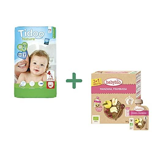 Pañales T4 Maxi (7/18 kg) Tidoo, 50 unidades + REGALO Pack 4x Pouche Manzana y Frambuesa babybio 90 g